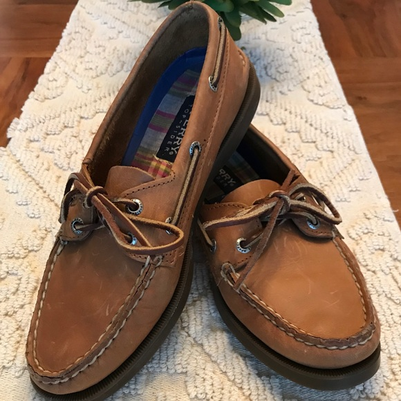 3d9740ddd6d2d Sperry Top-Siders Brown Leather Boat Shoes Size 8